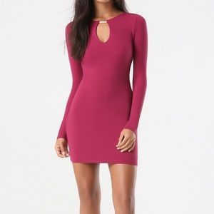 BEBE Mini Bodycon Keyhole Dress in Cranberry